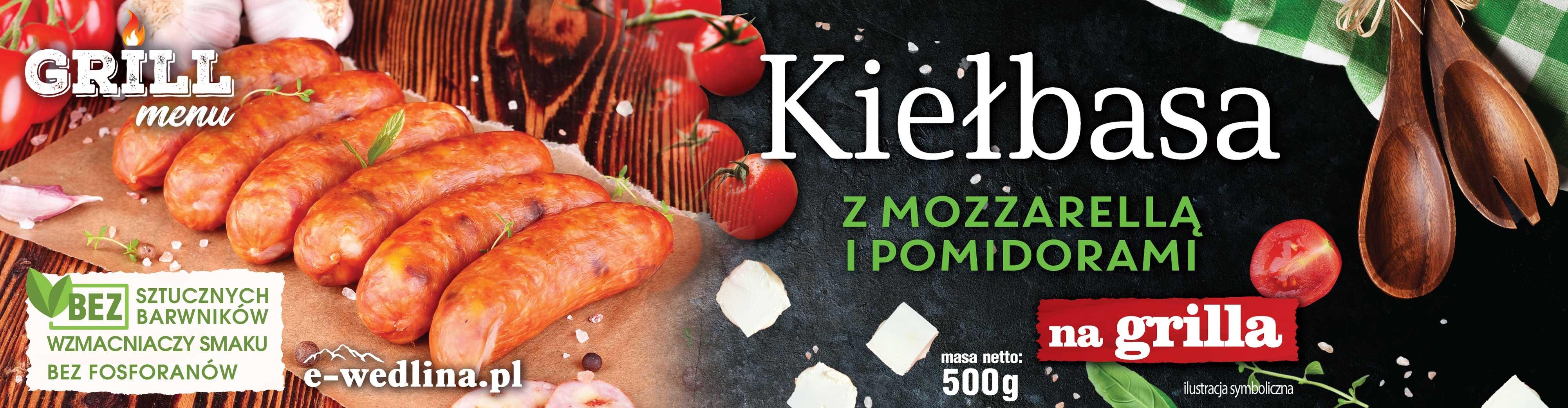 Kiełbasa z Mozzarellą i pomidorami na grilla